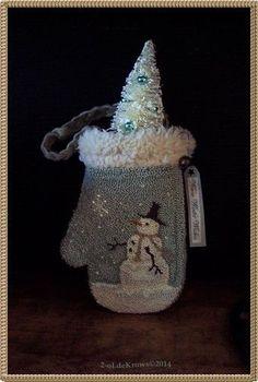 WinTer Snowman- Primitive Original Christmas Punch Needle Mitten Ornament Hanger #NaivePrimitive
