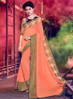 Peach Silk Engagement Wear Saree 85218