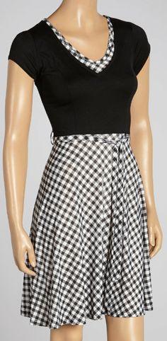 Black & White Gingham V-Neck Dress