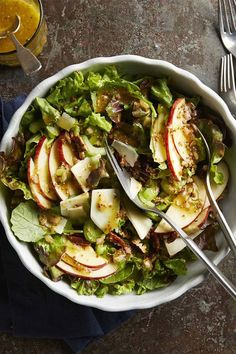 This quick and easy 20-minute apple and cheddar side salad recipe incorporates shallots, whole grain mustard, cider vinegar, arugula, celery, apple, cheddar cheese and pecans to create the ultimate fall recipe. Whether you're eating this apple recipe as a quick and easy weeknight dinner, side dish, appetizer, snack or light lunch, it's a great choice for a fall recipe. #fallrecipes #applerecipes #saladrecipes #fallsalads
