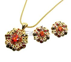 Beautiful classical flower shape jewelry sets with ruby in middle pastoral style for lady