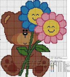 urso com florzinhas animadas