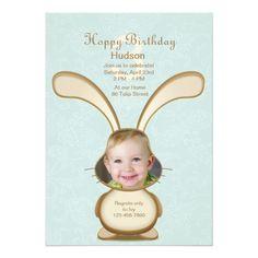 Photo Card Birthday Invitation Bunny Birthday Photo Invitation
