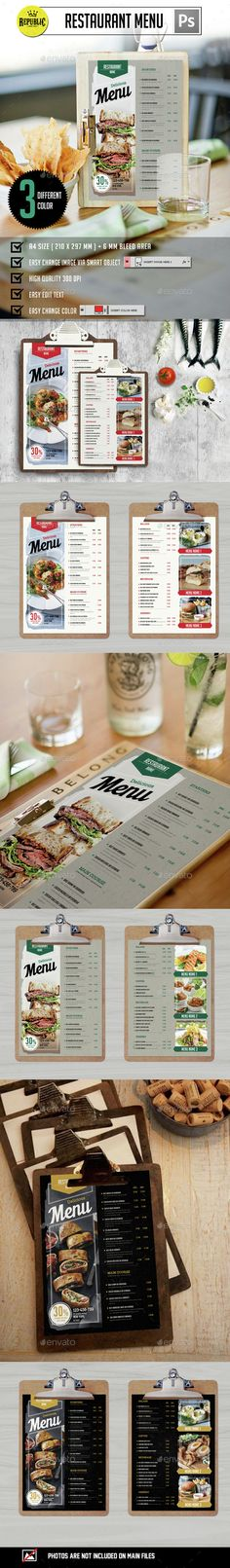 Clean Restaurant Menu - Food Menus | Download: http://graphicriver.net/item/clean-restaurant-menu/15259432?ref=sinzo #Print #Templates