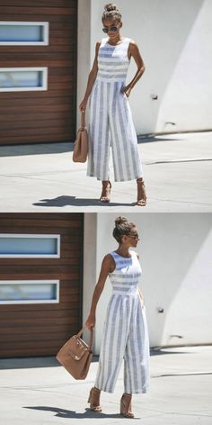 ae353073c8cd Women sleeveless striped jumpsuit casual sleeveless o neck clubwear office  work rompers cut out wide leg