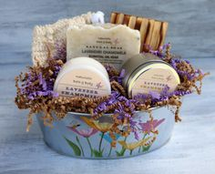 Bath & Body Gift Basket Lavender Chamomile Gift by NaturisticBath