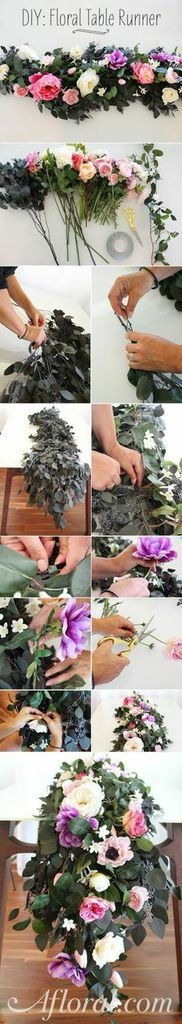 DIY Floral Table Runner. Use silk and preserved florals from Afloral.com for your wedding reception centerpiece. Follow this simple DIY to create your floral table runner. Start with preserved eucalyptus, and attach your favorite silk flowers. Assemble long before your event and will look fresh for the big day!