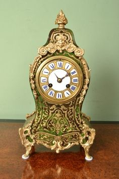 Antique French Green Boulle Mantel Clock by CF c.1880 (Antique French Green Boulle Mantel Clock by CF c.1)