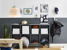 White storage boxes stacked in a grey sideboard in a grey and white hallway Simple Living Room Decor, Living Room Red, Paint Colors For Living Room, Grey And White Hallway, Striped Wallpaper Living Room, Sofas For Small Spaces, Living Room Furniture Arrangement, Credenza, Buffet