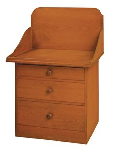 """Lot 50: Washstand  -  SOLD: $175,000 Estimate: $60,000 – $80,000 Pine, ochre stain, poplar drawer bottoms, hardwood pulls, pencil signed on underside of bottom drawer """"Made by James V. Calver, April 1862"""" (born 1839; joined New Lebanon Shakers 1850 – left 1871), New Lebanon, NY, 40 1/4"""" h, 27 5/8"""" w, 18 1/2"""" d. Exhibited: Whitney Museum of American Art, New York, May 29 – August 31,1986. """"The Shakers – An Exhibition Concerning Their Furniture, Artifacts and Religion"""