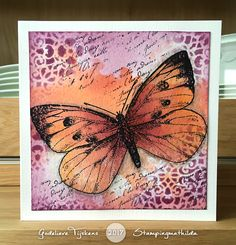 On today& card I used a large butterfly stamp from Art Journey. I stamped with black Archival Ink and watercolored the butterfly using . Mixed Media Cards, Butterfly Cards, Watercolor Cards, Card Tags, Paper Background, Greeting Cards Handmade, Diy Cards, Homemade Cards, Making Ideas