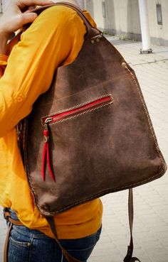 Brown leather tote, every day tote bag $120