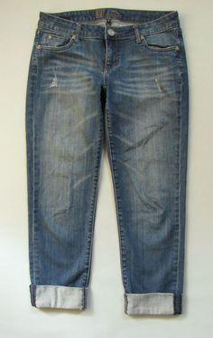 """Kut From The Kloth Jeans 4 Boyfriend Distressed Roll up Medium Stretch Denim 29"""" #KUTfromtheKloth #Boyfriend"""