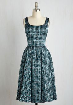 Classic Chanteuse Dress in Teal - Multi, Green, Print, Pockets, Special Occasion, Cocktail, Holiday Party, Fit & Flare, Sleeveless, Woven, Best, Sparkly2015, Long, Satin, Variation