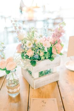 Rustic Crate Floral Centrepieces - Matt Ethan Photography | Vintage Pink Wedding at Newton Hall, Newton by the Sea