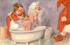 Gustav Robert Hogfeldt Swedish Christmas, Father Christmas, Merry Christmas, Christmas Illustration, Illustration Art, Mrs Claus, Saint Nicolas, Fat Art, Old Postcards