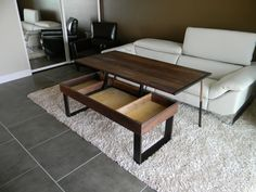 No more awkward trays with this pop-up coffee table by Jonathan Walkey of La Mesa, California. Have this or something similar made just for you at: www.custommade.com #table #coffeetable #custommade