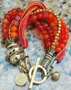 Custom Orange Glass and Gold Mixed-Media Bracelet