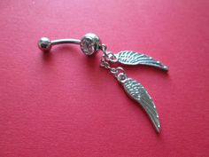 belly ring double feather belly button ring body jewelry