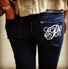 monogramed jeans I am going to get a pair of cheap jeans and try doing this as a freezer paper stencil or an iron on