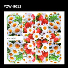 YZWLE 1 Sheet Indie Pop 3D Chrysanthemum Strawberry Nails Tattoos Decal Full Wraps Nail Art Water Transfer Stickers Decorations #Affiliate