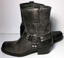 e07fbda1ec3f Frye 77455 Harness Dark Gray Black Leather Motorcycle Boots Women s Size 7