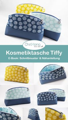 Cosmetic bag Tiffy - An e-book with a pattern and sewing .- Kosmetiktasche Tiffy – Ein E-Book mit Schnittmuster und Nähanleitung von Chrimo… Cosmetic bag Tiffy – An e-book with a pattern and sewing instructions from Chrimona - Sewing Hacks, Sewing Tutorials, Sewing Patterns, Sewing Tips, Diy Purse, Sewing Material, Sewing Projects For Beginners, Learn To Sew, Sewing Techniques