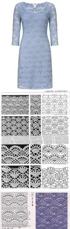 Модное платье вязаное крючком. Платье с рукавом вязаное крючком схема | Все о рукоделии: схемы, мастер классы, идеи на сайте labhousehold.com
