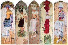 Défilé des demoiselles coiffées, resterende panelen uit de serie Demoiselles coiffées, te koop op https://www.etsy.com/nl/shop/MargrietThissen of aan huis, voor een afspraak mail naar mtmthissen@gmail.com. ook te bekijken op https://www.facebook.com/Atelier.Margriet.Thissen