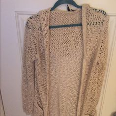 Cardigan Crochet detail with hood and pockets. Good condition. Generous fit Cynthia Rowley Sweaters Cardigans
