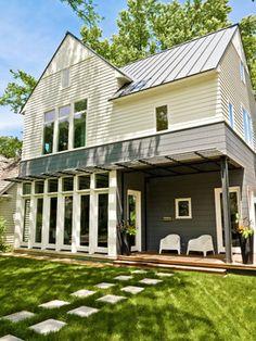 Hickmans' Home - contemporary - Exterior - Chicago - Mark Hickman Homes House On A Hill, Farm House, Farmhouse Remodel, Modern Farmhouse, Porch, New Homes, Backyard, Exterior, Cabin
