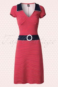 Mademoiselle Yeye 60s Jersey Red Striped Dress 107 27 14500 20150214 0004W