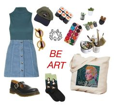 """be-art"" by mikaela-obrien on Polyvore featuring Topshop, Mason's, Dr. Martens, HOT SOX, Hostess, Torre & Tagus, INDIE HAIR and Lux-Art Silks"
