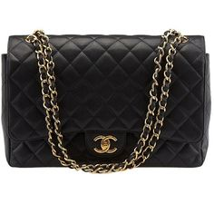 Pre-owned Chanel Maxi Black Caviar Quilted Leather Double Flap... (143 685 UAH) ❤ liked on Polyvore featuring bags, handbags, shoulder bags, pre owned handbags, chanel shoulder bag, quilted leather handbags, black shoulder bag and preowned handbags