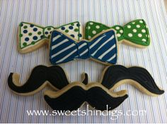 Sweet Shindigs: Bow tie and mustache sugar cookies for a little man's first birthday.