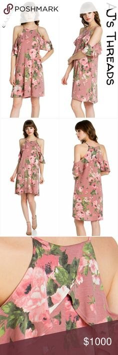 Sweet Rose Floral Print Cold Shoulder Dress Like to be notified when this arrives.   Sweet rose floral print cold shoulder dress. Endless styling options. Stylish,yet incredibly comfortable. Easily transition from day to night effortlessy. Made with soft knit jersey.(Non-Sheer Fabric) Made In USA Dresses Midi