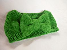 Knit bow headband discontinued color Green bean by JooBeePetals, $8.00