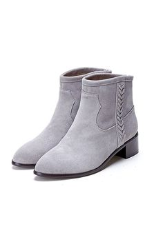 Iceberg Grey Suede Side Braided Leather Ankle Boots | Goodnight Macaroon