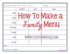 how to make a menu #frugal #homemaking