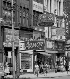 Pittsburgh PA: View east on Liberty Avenue toward Pennsylvania Railroad Station - Businesses on the north side block) of the street include: Armor Modern Kitchens, Carnegie Park Mens store, Isalys Deli, Kings Clothing Store and Lomakin Music. Pennsylvania History, Pennsylvania Railroad, Pittsburg Pa, Pittsburgh City, Pittsburgh Neighborhoods, King Outfit, Nostalgia, Dubai Skyscraper, Landscape Elements