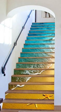 beach stairs shell Risers Decoration Photo Mural Vinyl Decal Wallpaper US Escalier Art, Escalier Design, Stairway Art, Stairway To Heaven, Beach Stairs, Decoration Photo, Home Decoration, Marble Stairs, Stairways