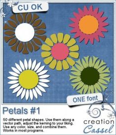 #Petals #1 - #Font - Do you like to use stylized #flowers but are tired of the same old ones? Now you can create your own flowers with this Petal font.