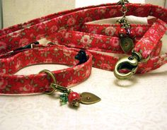 Small Dog Collar Leash Set  Warm Pink Roses on a Red by RGPheasant, $25.00