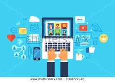 Social media network. Flat design modern vector illustration concept.