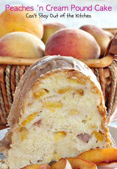 Peaches 'n Cream Pound Cake Home-made Chocolate Kahlua & Cream Bundt Cake Köstliche Desserts, Delicious Desserts, Dessert Recipes, Yummy Food, Plated Desserts, Cupcakes, Cupcake Cakes, Peach Pound Cakes, Peach Cobbler Pound Cake Recipe