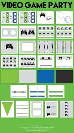 Video Game Birthday Decorations – Video Game Party Decorations – Printable Video Game Party – Green Video Game Party by Printable Studio - Minecraft, Pubg, Lol and Xbox Party, Game Truck Party, Birthday Games, Birthday Party Decorations, 13th Birthday, Playstation, Nintendo, Video Game Party, Video Games