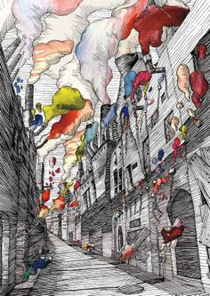 Wataru Yoshida was born in Tokyo, Japan in 1987.In 2007, Wataru chose to pursue an education in design at the Tama Art University, majoring in graphic design and illustration. His work with ink is breathtaking!