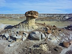 San Juan Badlands, New Mexico | San Juan Basin | Hoodoo and Boulders on White Sandstone Mound | I DO BELIEVE THIS IS THE MYSTERIOUS CREATURE SEEN ELSEWHERE or is it another?