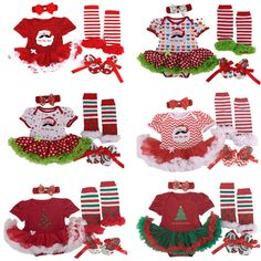 12.07$  Buy now - http://aliyet.shopchina.info/go.php?t=32693447716 - 2016 Christmas Baby girl clothes Newborn baby Romper Tutu dress+headband+shoes+leg warmers 4pcs/sets Infant Baby girl clothing  #buychinaproducts