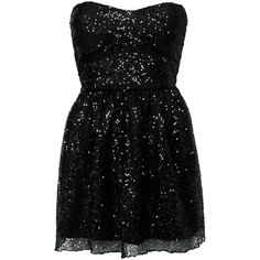 Club L Black Sequin Strapless Dress ($19) ❤ liked on Polyvore